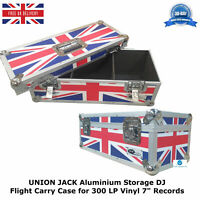 "2 UNION JACK Aluminium Storage DJ Flight Carry Case for 300 LP Vinyl 7"" Records"