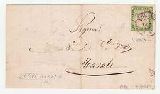 STORIA POSTALE 1860 SARDEGNA C.5 VERDE GIALLO (III) Z/5496