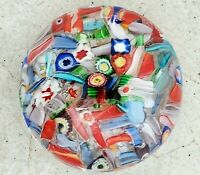 SDS SEAPOOT GROUP Paperweight - Rare VINTAGE Millefiori Art Glass Colorful