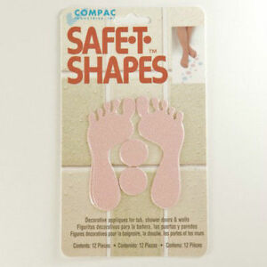 Safe-T-Shapes Pink Feet Non-Slip Safety Applique Decal Stickers Bath Tub Shower