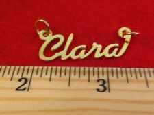"""14KT GOLD EP """"CLARA"""" PERSONALIZED NAME PLATE WORD CHARM PENDANT 6087A"""