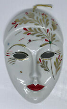 "CAPODIMONTE MASK PORCELAIN CERAMIC FACE ART DISPLAY HAND PAINTED ITALIAN 7""x4.5"