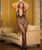 Shirley of Hollywood Plus Size Deep Plunge Crotchless Bodystocking Lingerie