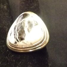 White Buffalo Turquoise Ring Size 8 Stamped FD 925