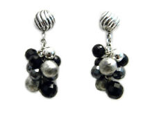 David Yurman Elements Drop Cluster Earrings Silver/Black Onyx/Hematite NWT