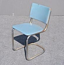 Ordinaire Vintage Retro Tubular Chrome Chair With Turquoise Blue Vinyl Upholstery