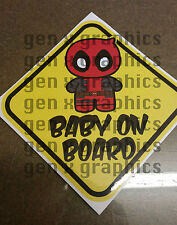DEADPOOL Baby Sign CUTE BABY ON BOARD CHIBI  WINDOW DECAL  STICKER WARNING VINYL