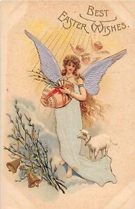 A90/ Easter Postcard Holiday Greetings c1910 Silk Wings Dress Angel Sheep 12