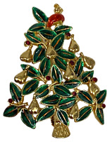 LIA Signed Partridge in a Pear Tree Enamel Christmas Holiday Brooch Pin Lianna