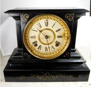 ANSONIA CAST IRON 8-DAY TIME & STRIKE MANTEL CLOCK
