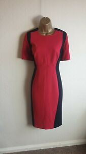 M&S Collection Size 14 Red & Black Smart Formal Fitted Work Office Formal Dress