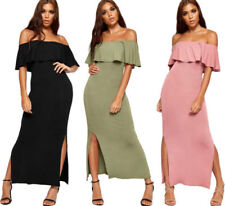 Viscose Solid Dresses for Women with Slit