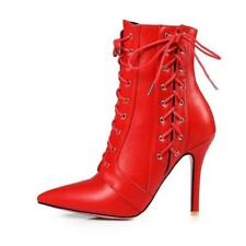 Ladies Shoes Synthetic Leather High Heels Zip Lace Up Chic Ankle Boots UK Size