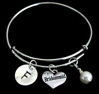Personalized Bridesmaid Bracelet jewelry, Initial Birthstone silver bangle