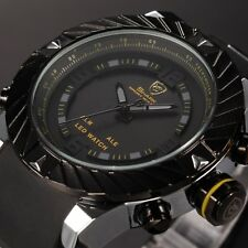 Men Shark Yellow 3D Digital LED Date Dual Time Silicone Sport Wrist Watch