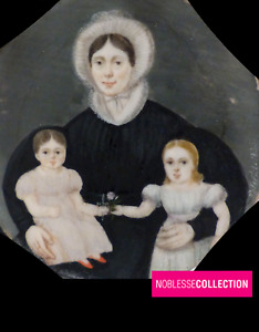RARE ANTIQUE DATED 1835 FRENCH MINIATURE HAND PAINTED MOTHER & CHILDREN PORTRAIT