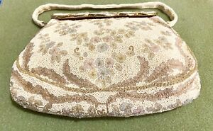 Vintage Purse Evening Bag By JOSEF Hand Beaded France w/ Beaded Mirror