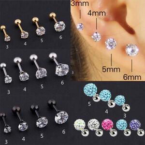 Gem Stainless Steel Earring Stud Cartilage Tragus Ear Lip Bar Stud Piercing Gift