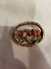 Antique  00006000 Victorian Rose Gold or Filled Vintage Red Coral Branch Brooch Pin
