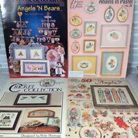 Lot Of 4 Angel Cross Stitch Patterns Charts Pastel Bears Unaware 50 Sam Hawkins