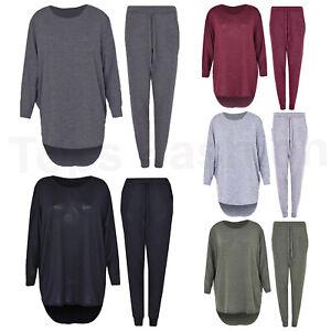 Ladies Womens Lounge Wear Suit 2Pcs Set Oversized Joggers Tracksuits Top Trouser