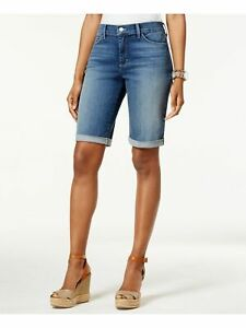 NYDJ Womens Blue Roll Cuff Stretch Denim Shorts Size: 12