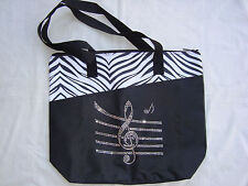 "Bling G Clef MUSIC Tote Bag Black W/Rhinestones 18' x 15"" Brand NEW Beautiful"
