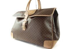 Authentic CELINE MACADAM PVC Leather Browns Boston Bag Hand Bag / Large Size