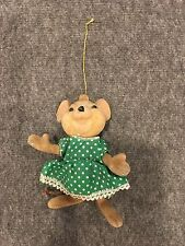 Ornament Mouse wearing Green Dress with White Polka Dots