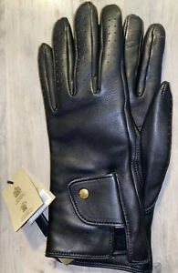 Burberry Black Leather Gloves, 7.5