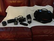 CANON AE-1 PROGRAM 35mm Film CAMERA with 3 LENSES, FLASH, AUTO-WINDER, & CASE