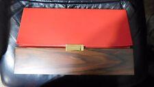 Stella McCartney Red Vegan Leather and Brown Wood Clutch Handbag $1,865+