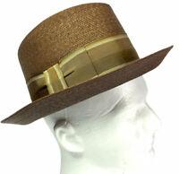 Dobbs Milan Straw Fedora Classy Ribbon Brown Men's Vintage Hat Size 7 1/8 Long