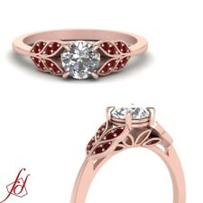 Round Cut Diamond And Ruby Gemstone Nature Inspired Leaf Design Engagement Ring