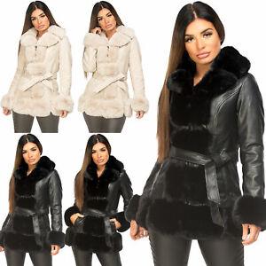 Womens PU Pvc Winter Long Coat Faux Vegan Leather Fur Collar Warm Belted Jacket