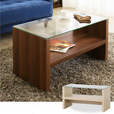 Glass Top Center Table Brown Open Bottom Shelf Simple Design Under Stage CAT-BR
