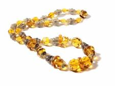 "18"" Vintage Czech necklace fire polished topaz facet green rondelle glass beads"