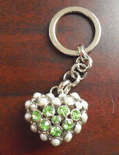 Unique Modern Heart Shaped Metal Faux Stone Pearls Costume Keychain LOOK