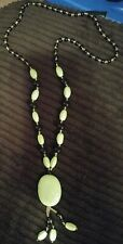 """green/yellow gaspeite stone beads  necklace 28"""" 3.5"""" hanging w/ black gold beads"""