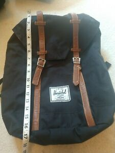 HERSCHEL Supply co black CANVAS BACKPACK with red & white stripes