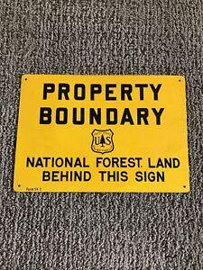Vintage US Forest Service Property Boundary National Forest Sign