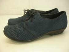 Women's 8.5 9 M 39 Dansko Olive Flat Shoes Blue Snakeskin Leather Oxford Lace-Up