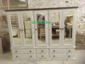 SHAFTESBURY HANDMADE 5 DOOR 6 DRAWER ROBE MIRRORS WHITE/JACOBEAN PINE TOP/KNOBS