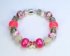Hot pink flower silver bead European charm bracelet,stripe glass alloy aluminium
