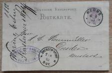 Postkarte 1882 Worms - Dresden, gut erhalten, siehe Fotos.