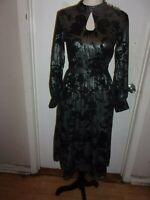 Modcloth Mesh Dress Long Sleeve Black & Silver sizes XXS, S, M (C62)