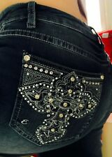Woman's EARL JEANS Size 16 Bling Stretch Rhinestone Cross Slim boot  ~36 X 32