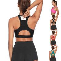 Women Vest Yoga Workout Sports Top Halter Bra Stretch Underwear Fitness Pocket