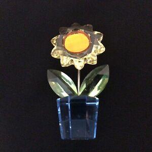 Swarovski Miniature Crystal Glass Orange & Yellow Flower with Blue Plant Pot#622
