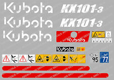KUBOTA KX101-3 MINI DIGGER COMPLETE DECAL STICKER SET WITH SAFETY WARNING SIGNS